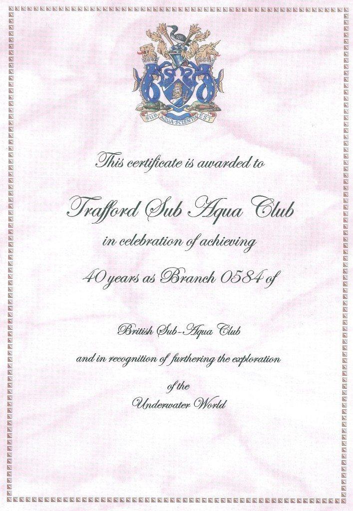 40th certificate