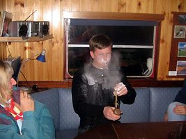 Peter Johnson learning how to use the talc pipe!